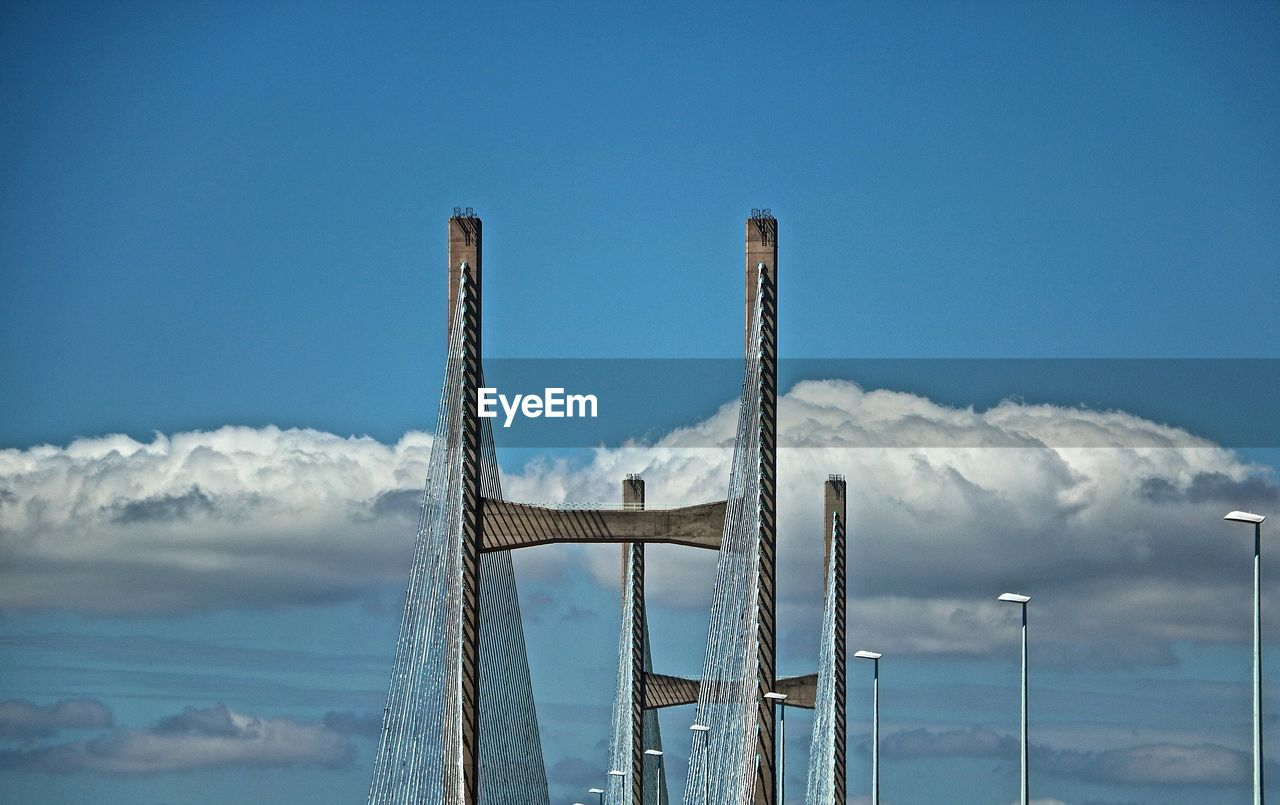 High Section Of Second Severn Crossing Bridge Against Cumulus Clouds