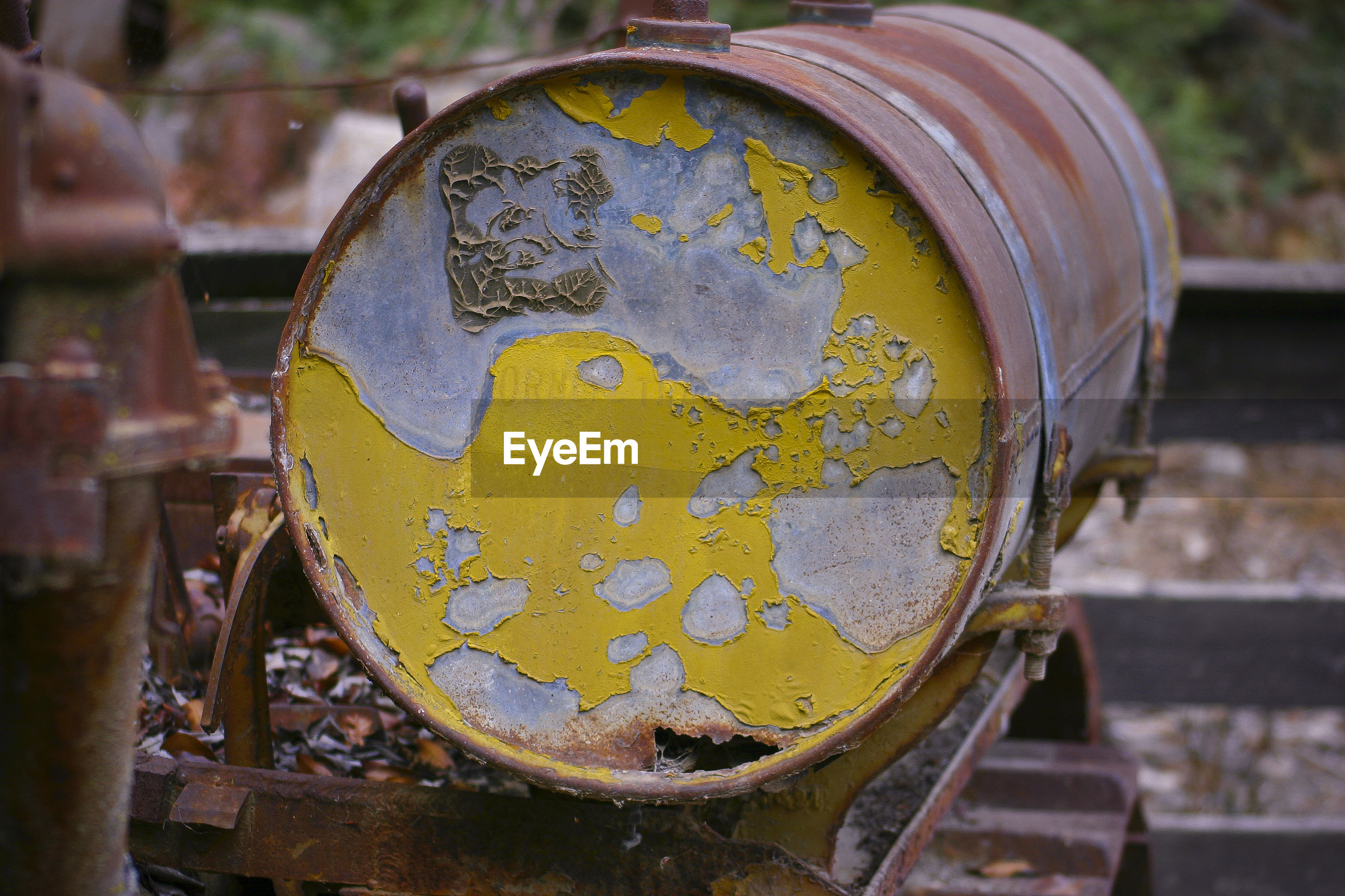 Close-up of old rusty drum