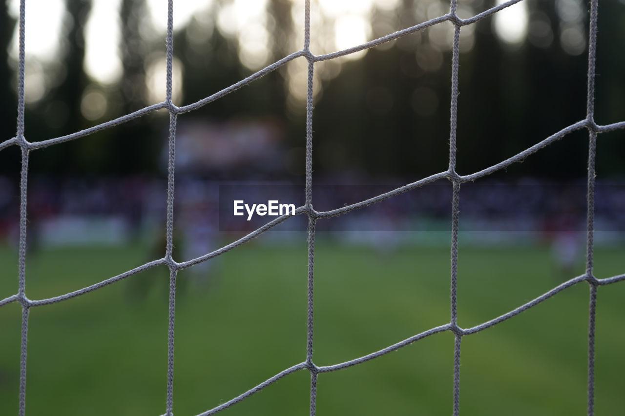 Close-up view of netting at playground