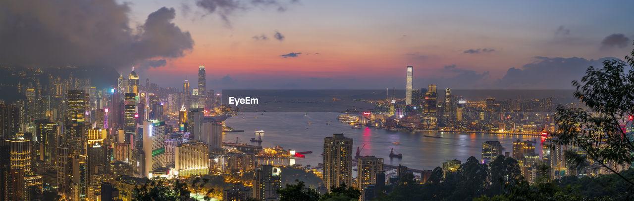 Cityscape from braemar hill at night, hong kong