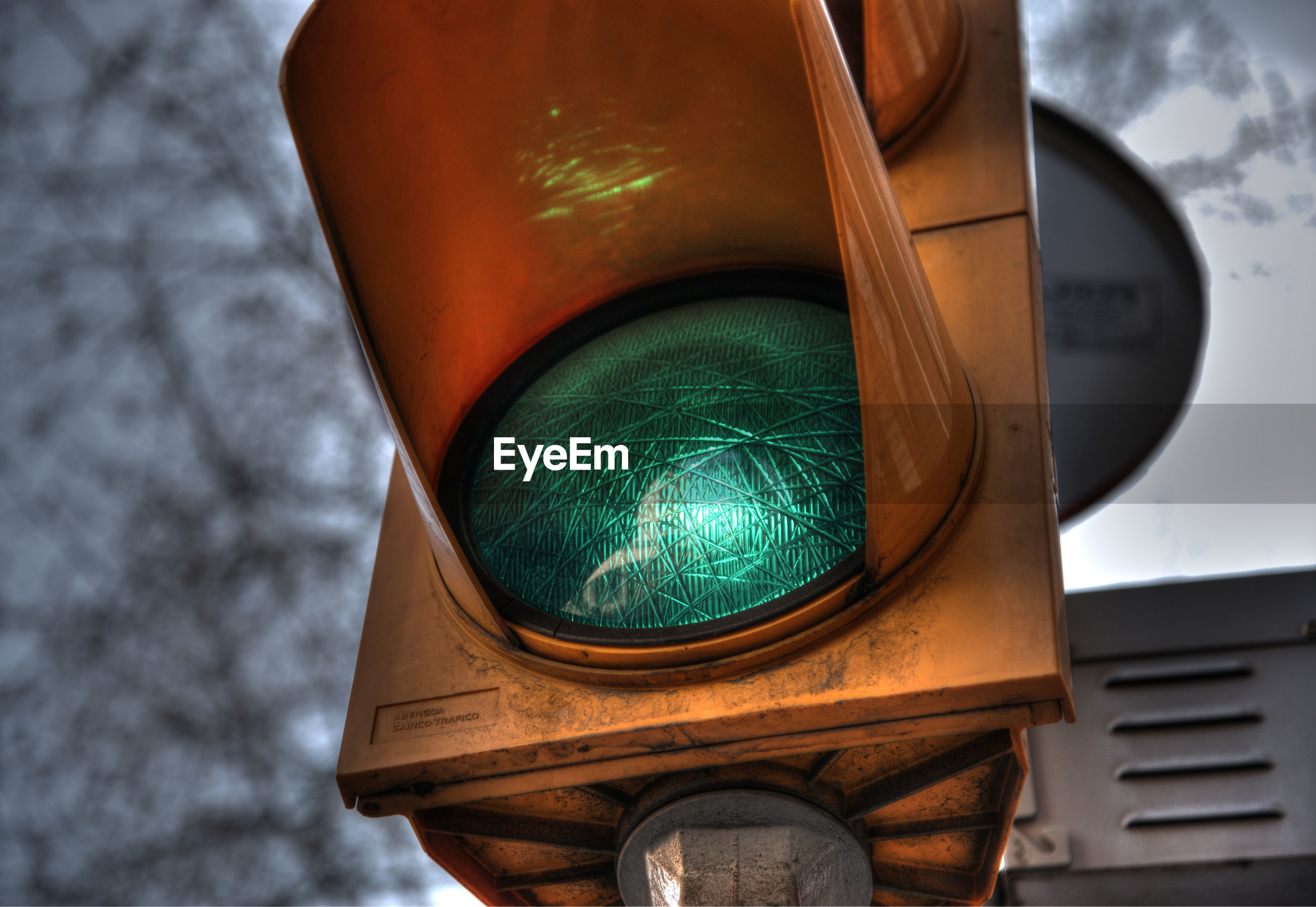 Low angle view of green light