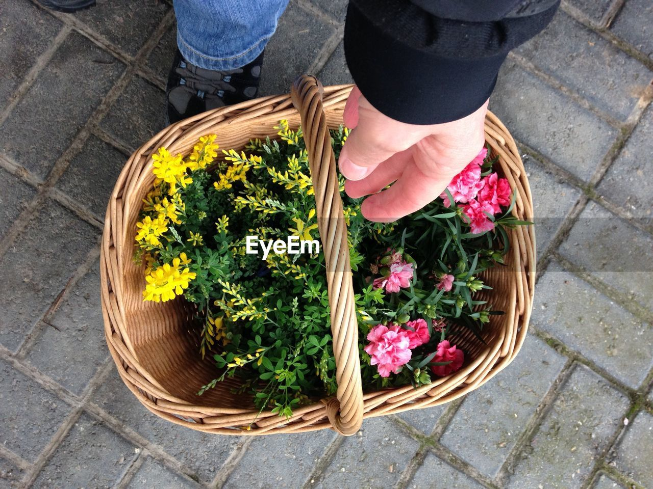 Low Section Of Person Picking Up Flower Basket On Footpath