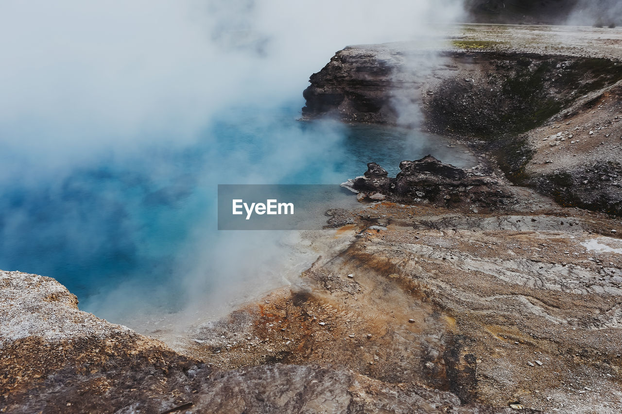 Scenic View Of Hot Springs At Yellowstone National Park