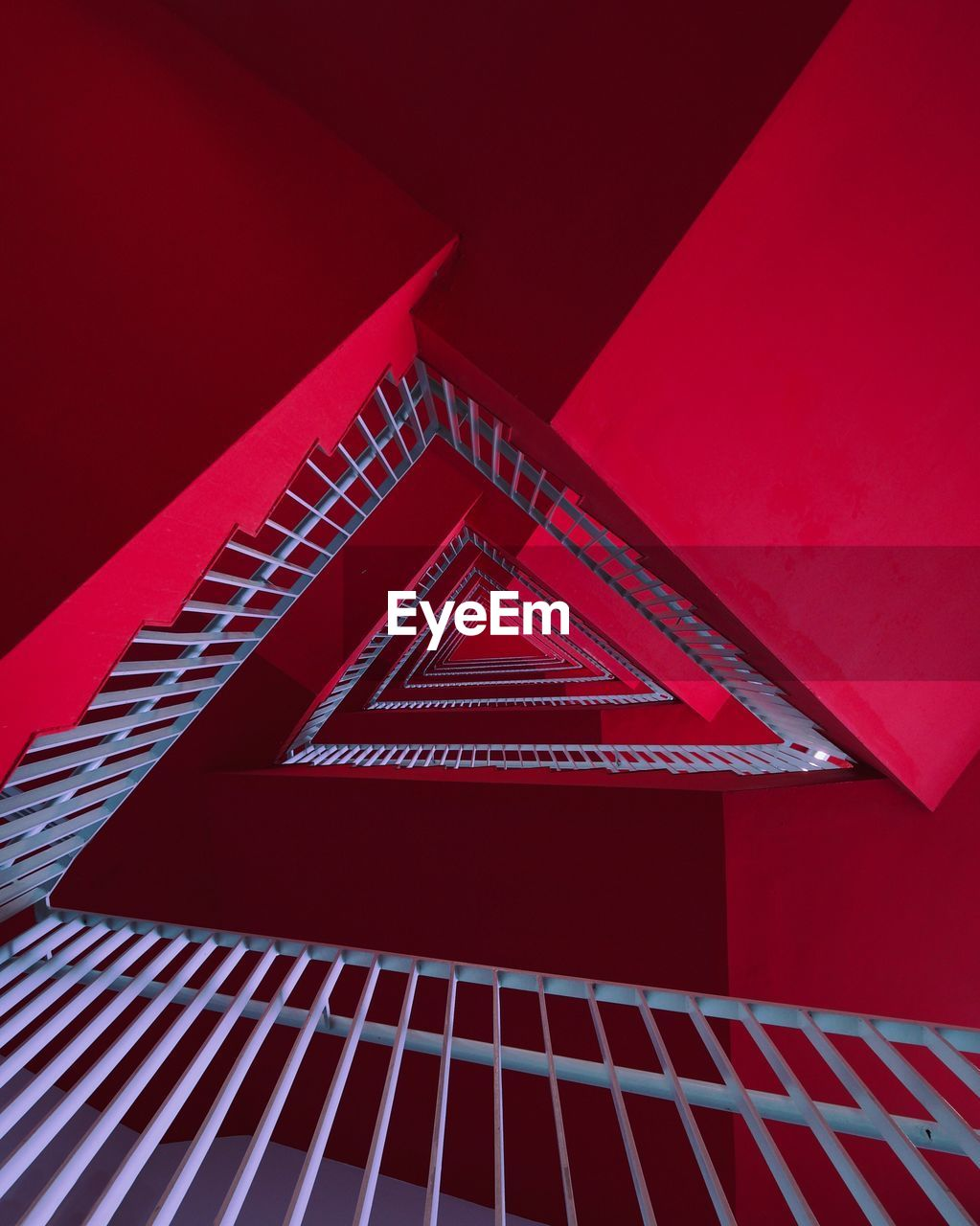 red, architecture, built structure, no people, pattern, low angle view, triangle shape, building exterior, building, shape, day, outdoors, design, geometric shape, window, close-up, metal, house, art and craft, ceiling, directly below