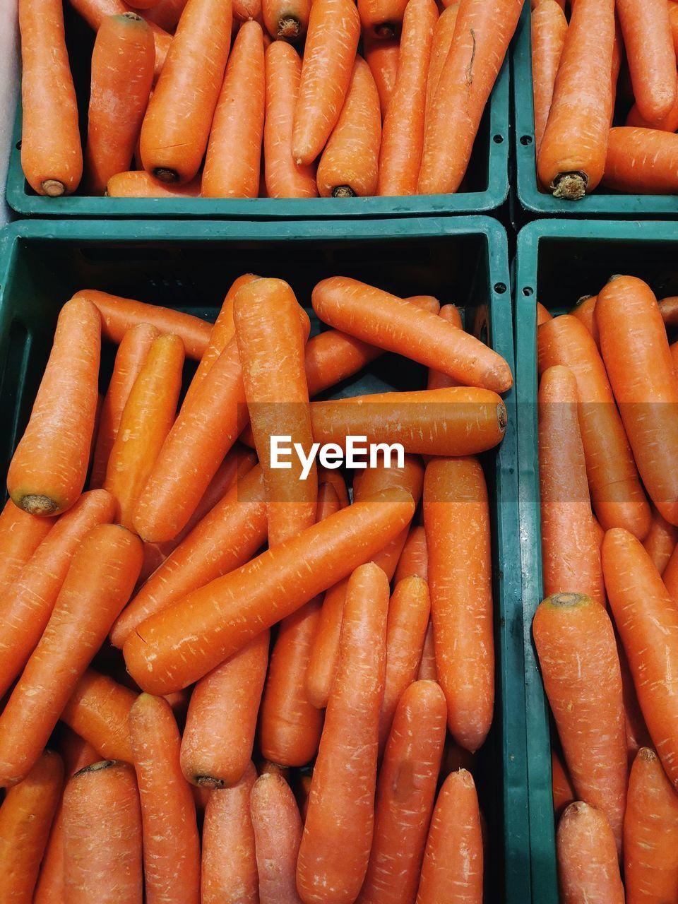 Full frame shot of carrots at market