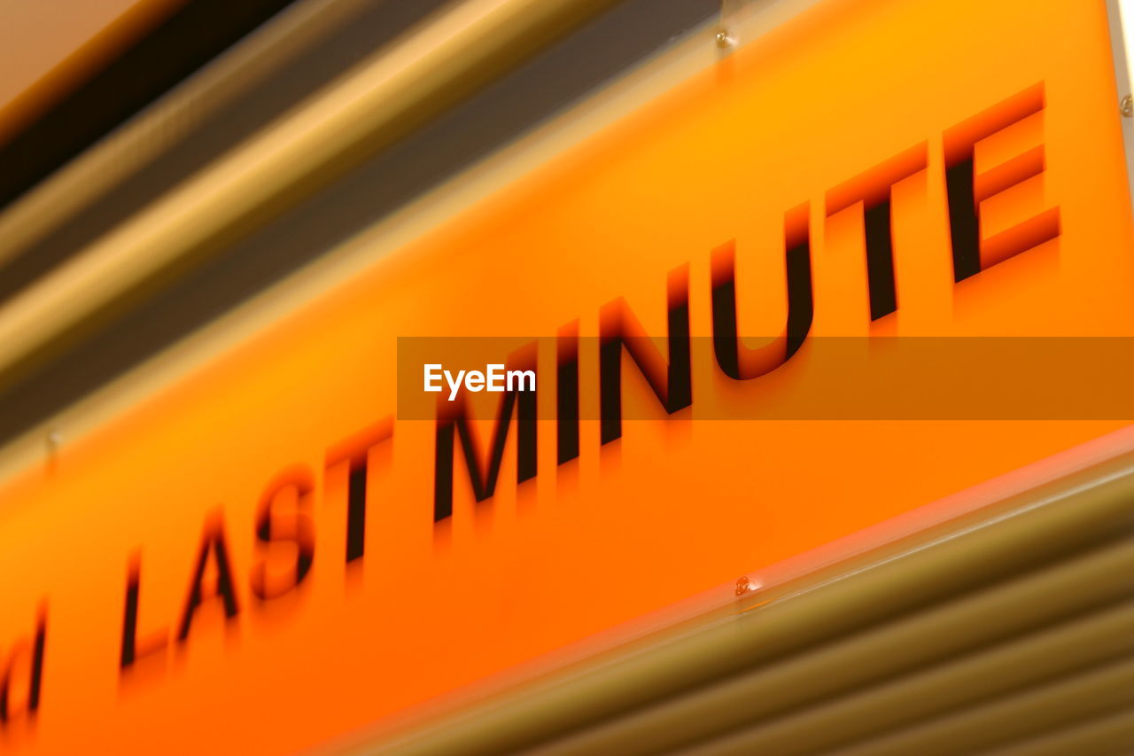 orange color, text, close-up, communication, no people, indoors, yellow, day