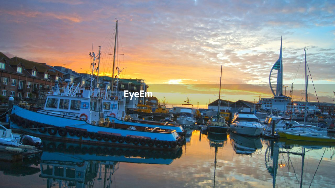 sunset, sky, nautical vessel, moored, outdoors, no people, architecture, building exterior, cloud - sky, built structure, water, sea, nature, day