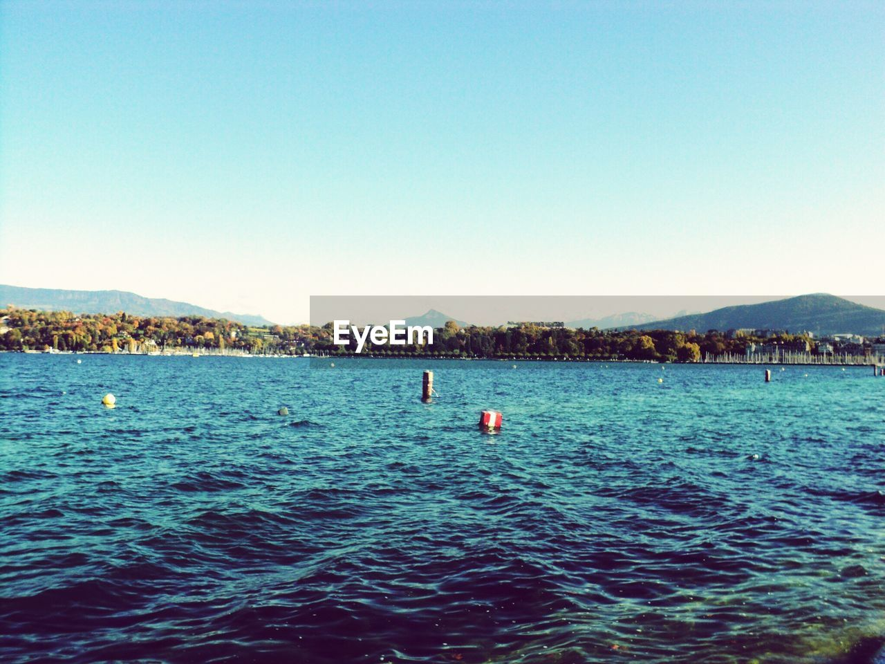 water, clear sky, blue, sea, nature, outdoors, beauty in nature, waterfront, copy space, rippled, scenics, tranquility, buoy, swimming, floating on water, day, no people, mountain, scenery, sky