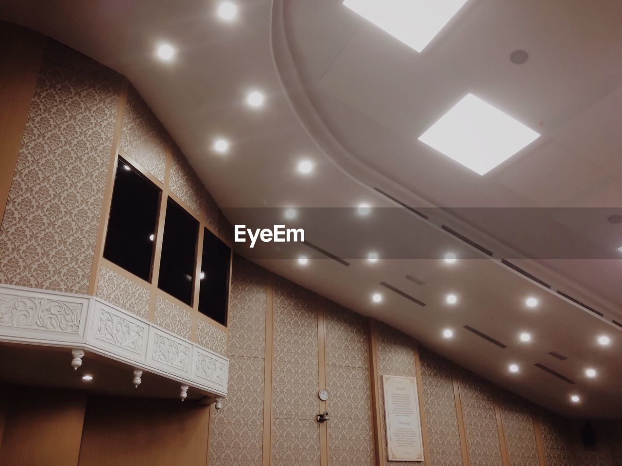 indoors, ceiling, illuminated, lighting equipment, architecture, low angle view, no people, built structure, close-up, day