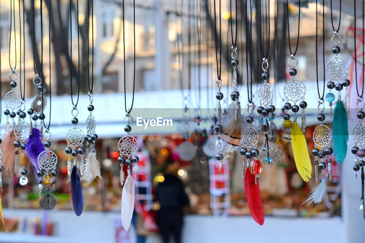 Various decorations for sale at market stall