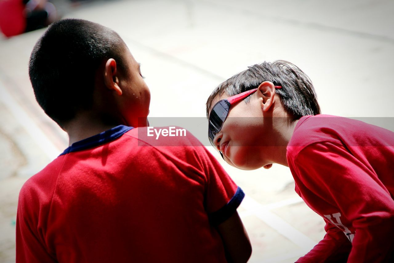 Close-up of boys outdoors