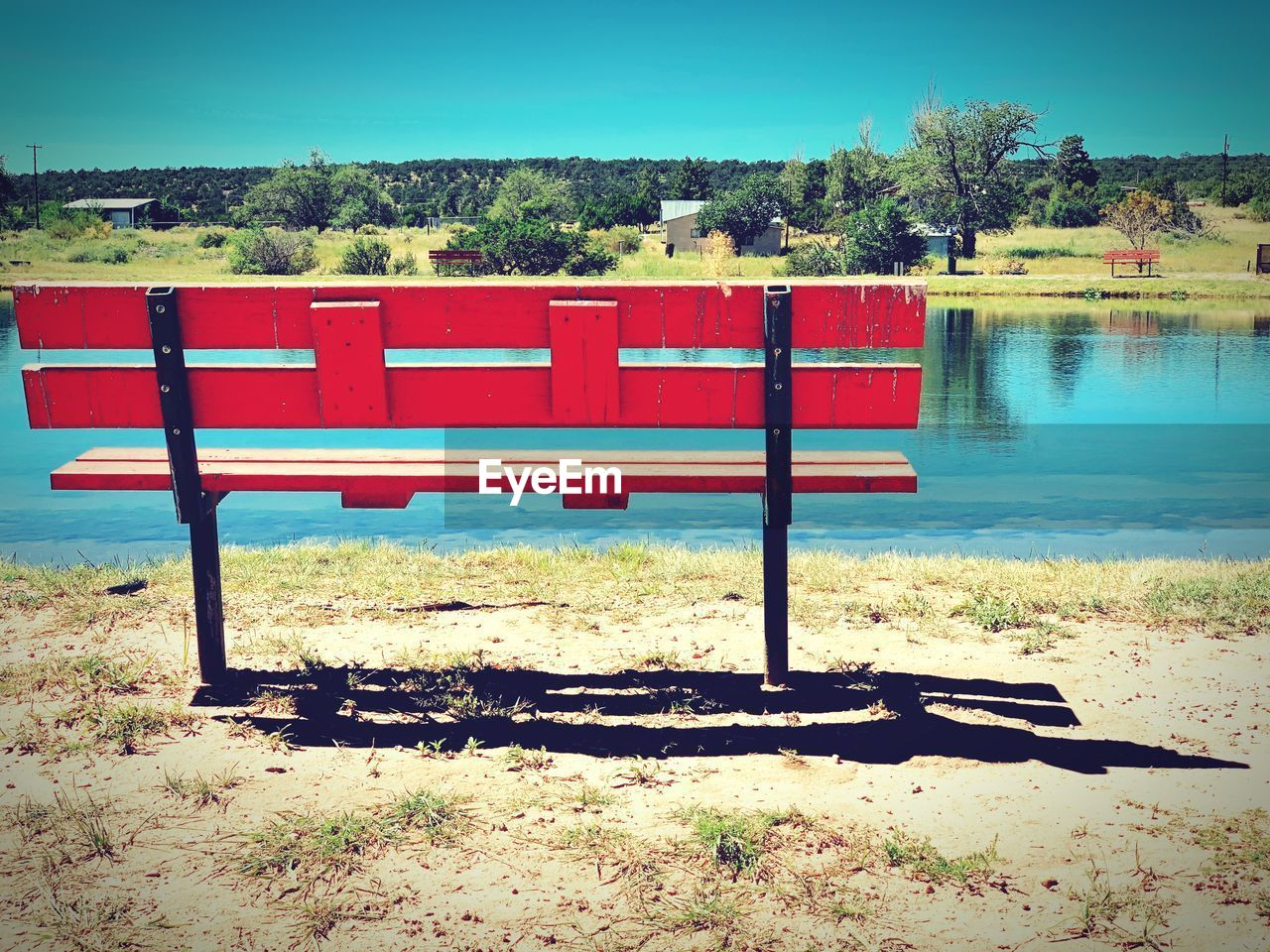water, plant, nature, tree, day, lake, sky, sunlight, red, tranquility, shadow, no people, absence, seat, bench, clear sky, tranquil scene, land, scenics - nature, outdoors