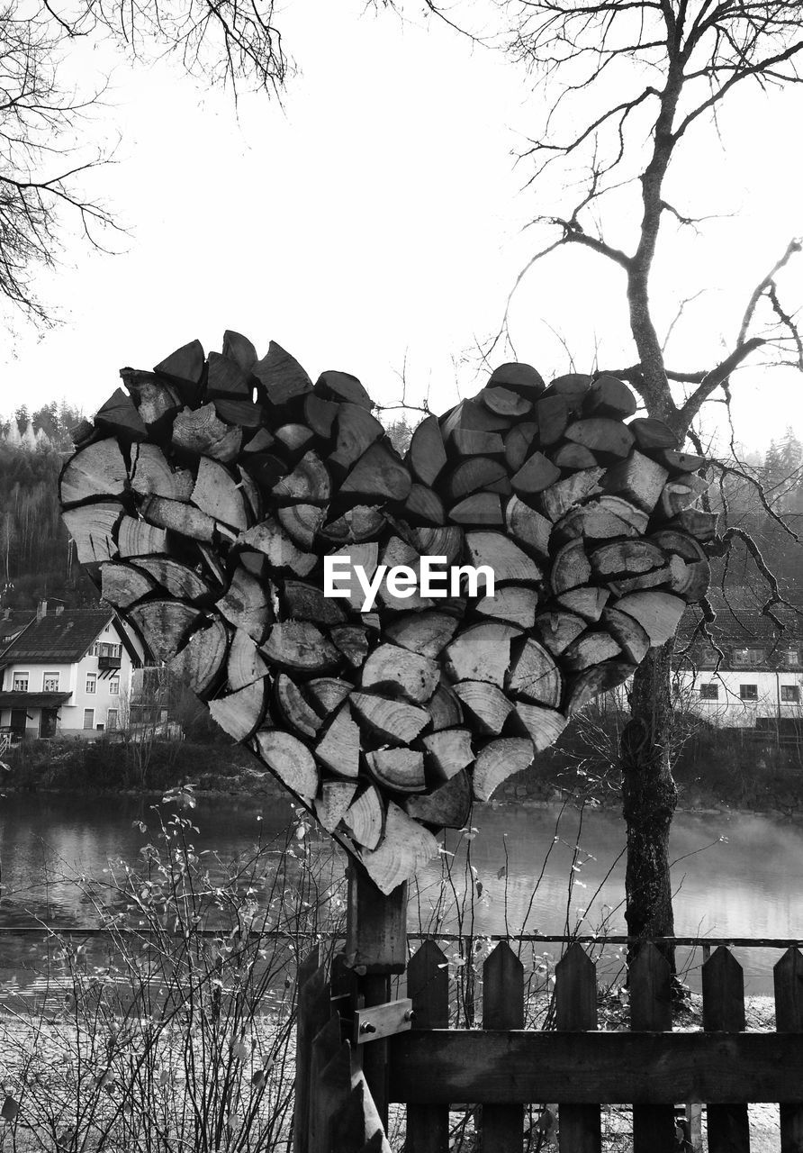 Logs shaped as heart