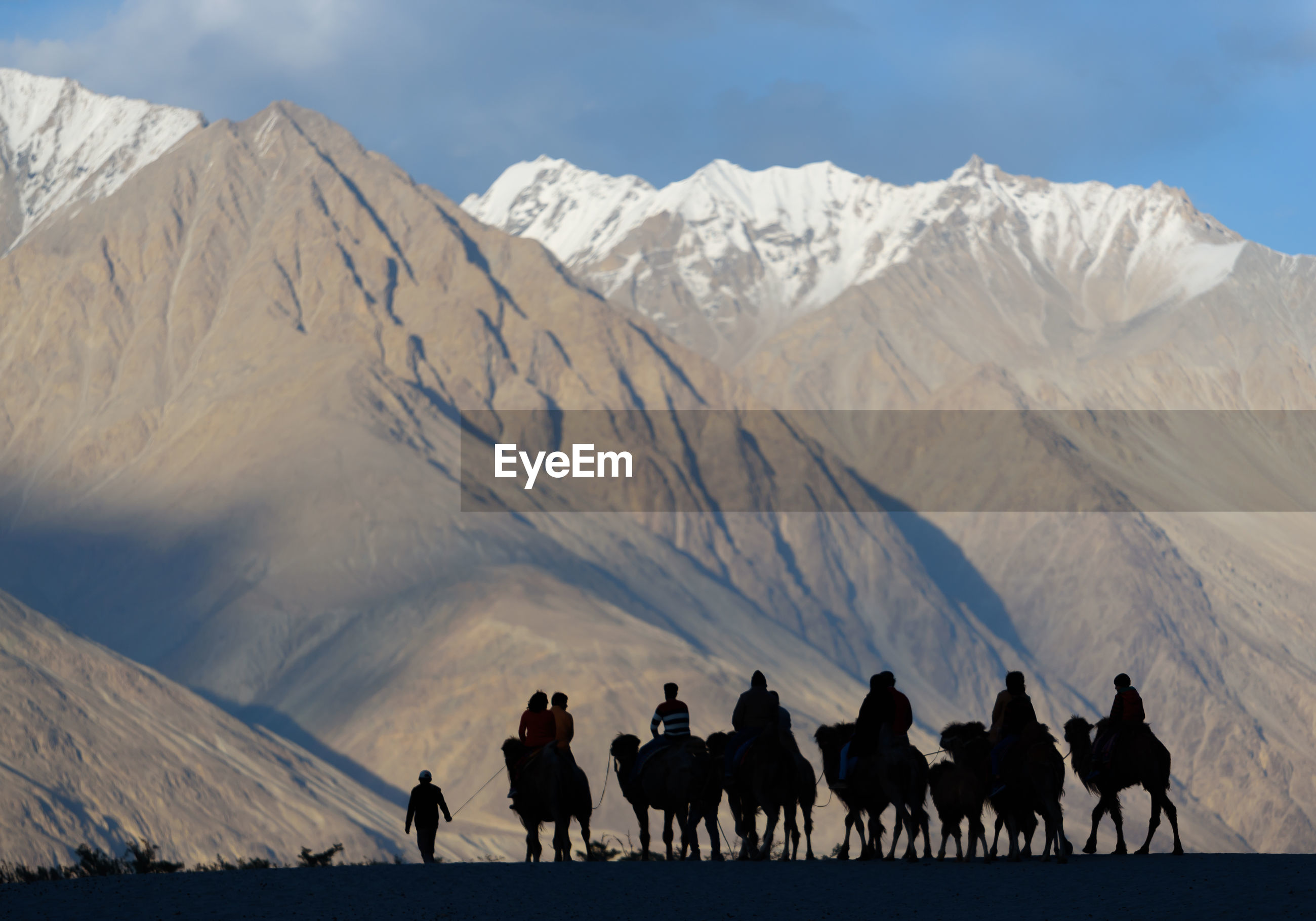 Group of people riding camel on mountain