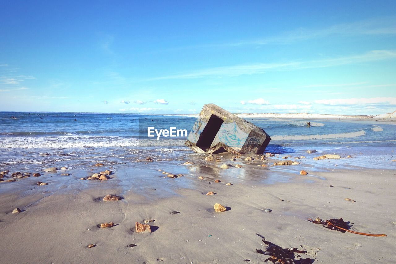 sea, beach, water, horizon over water, abandoned, sand, nature, damaged, sky, no people, beauty in nature, scenics, day, outdoors, nautical vessel, wave