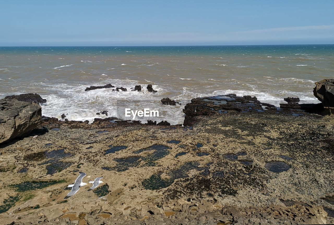 sea, water, beach, horizon over water, land, horizon, rock, beauty in nature, scenics - nature, sky, motion, solid, rock - object, nature, wave, day, tranquility, tranquil scene, no people, outdoors