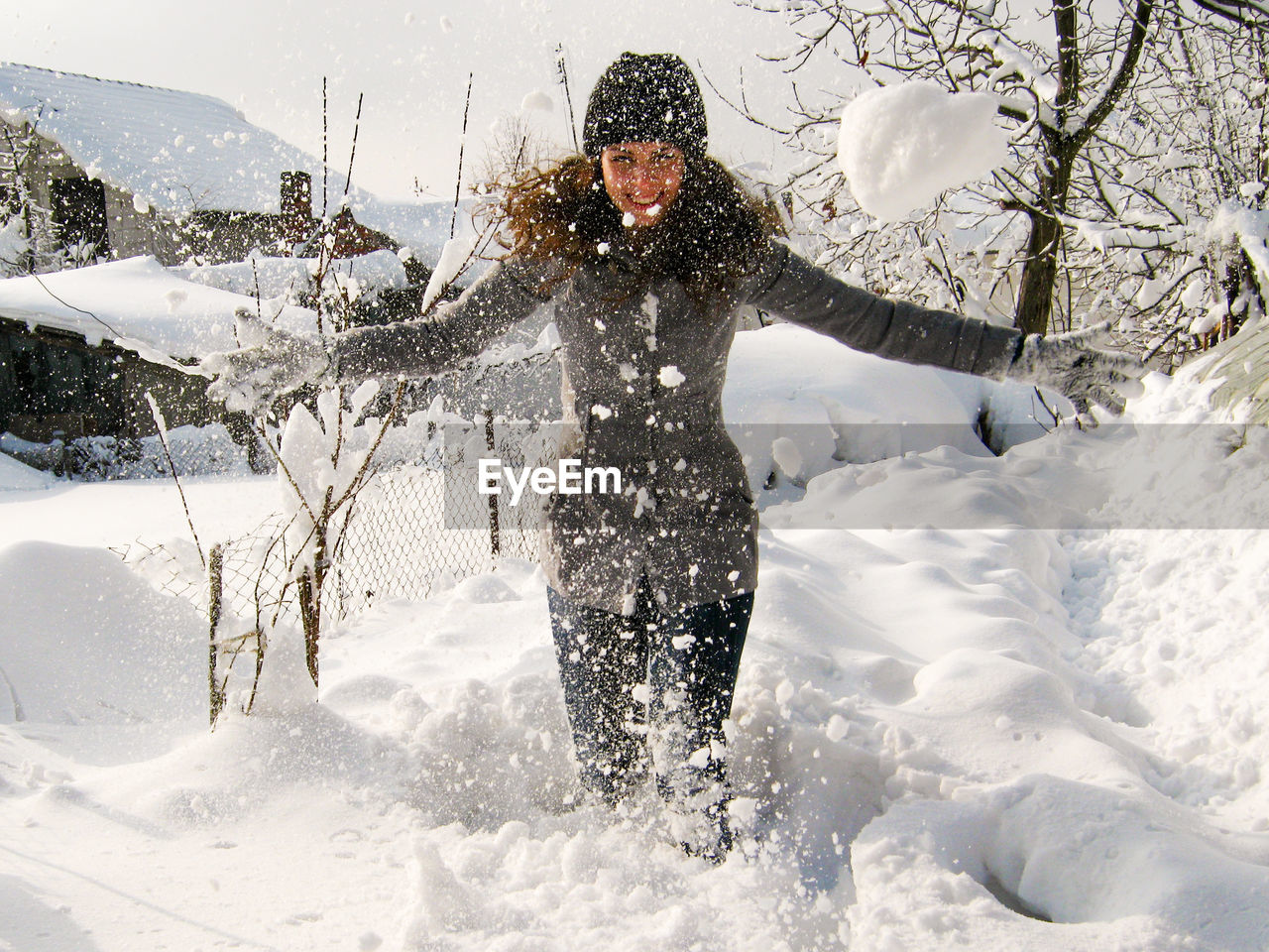 Full length of person in snow during winter