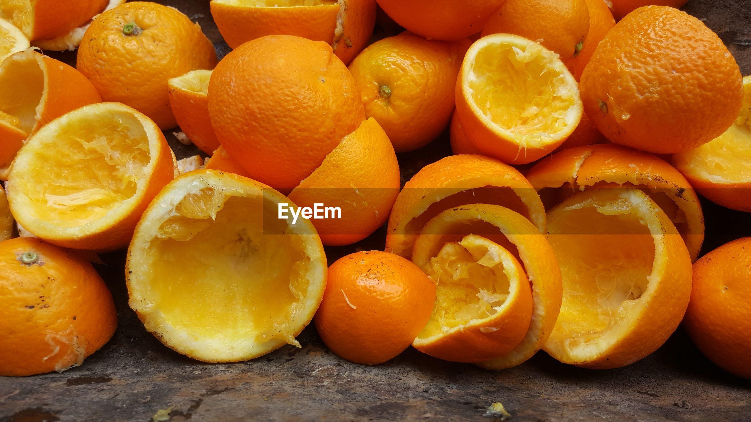 Directly above shot of oranges peel