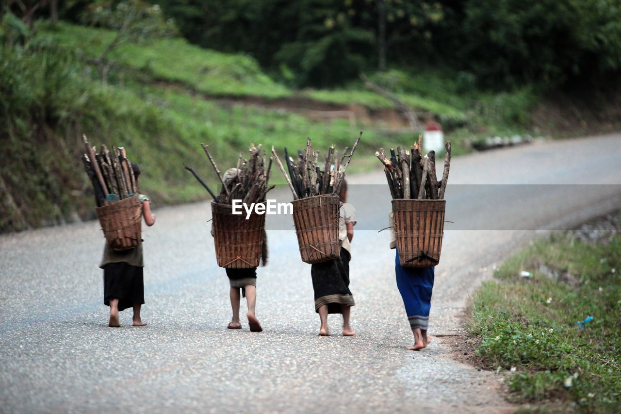 Rear View Of Women Carrying Firewood In Basket On Road