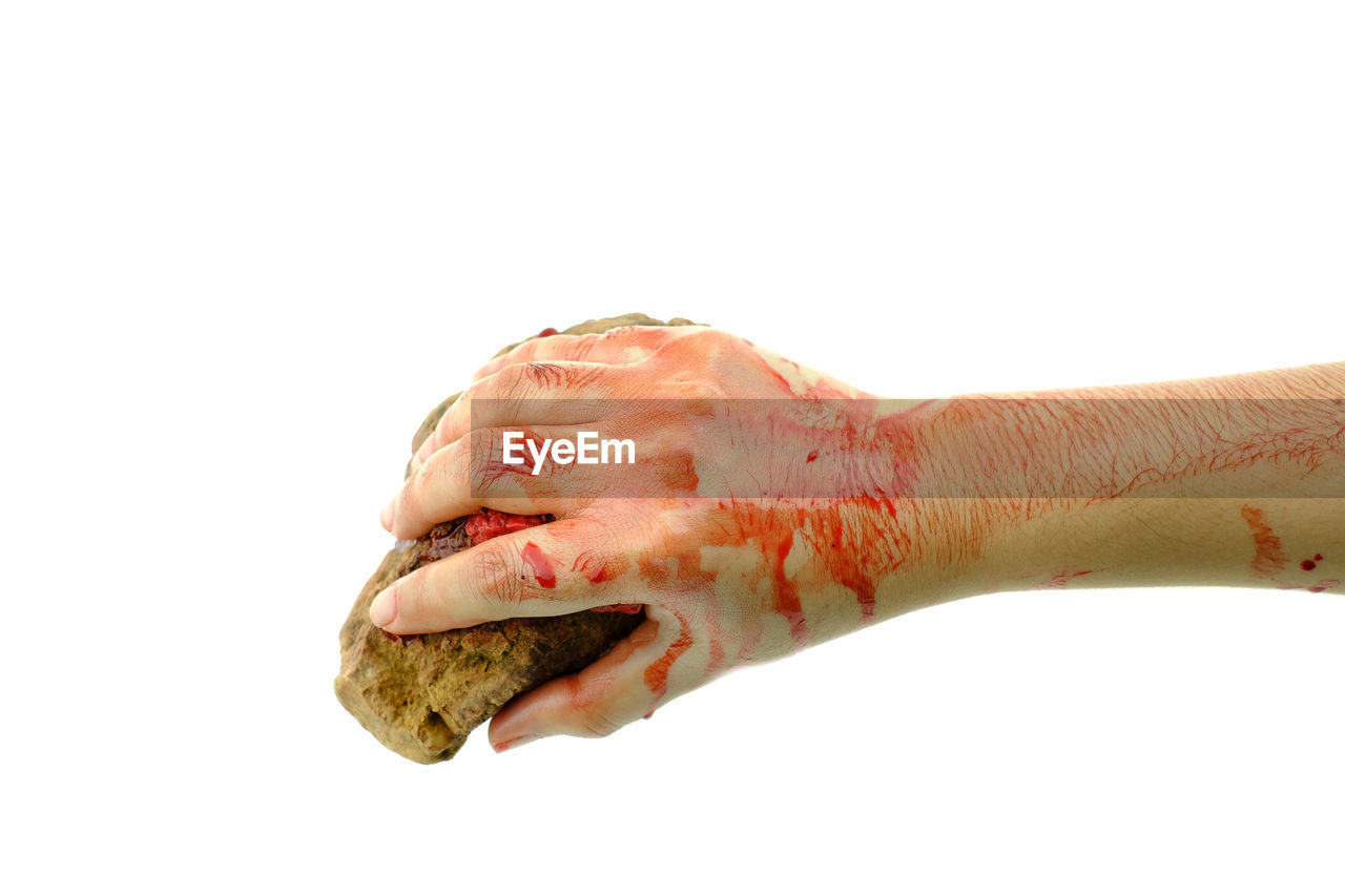 studio shot, white background, human body part, hand, human hand, indoors, physical injury, blood, copy space, body part, one person, wound, cut out, close-up, finger, human finger, pain, limb, unrecognizable person, human limb, human blood, mouth open