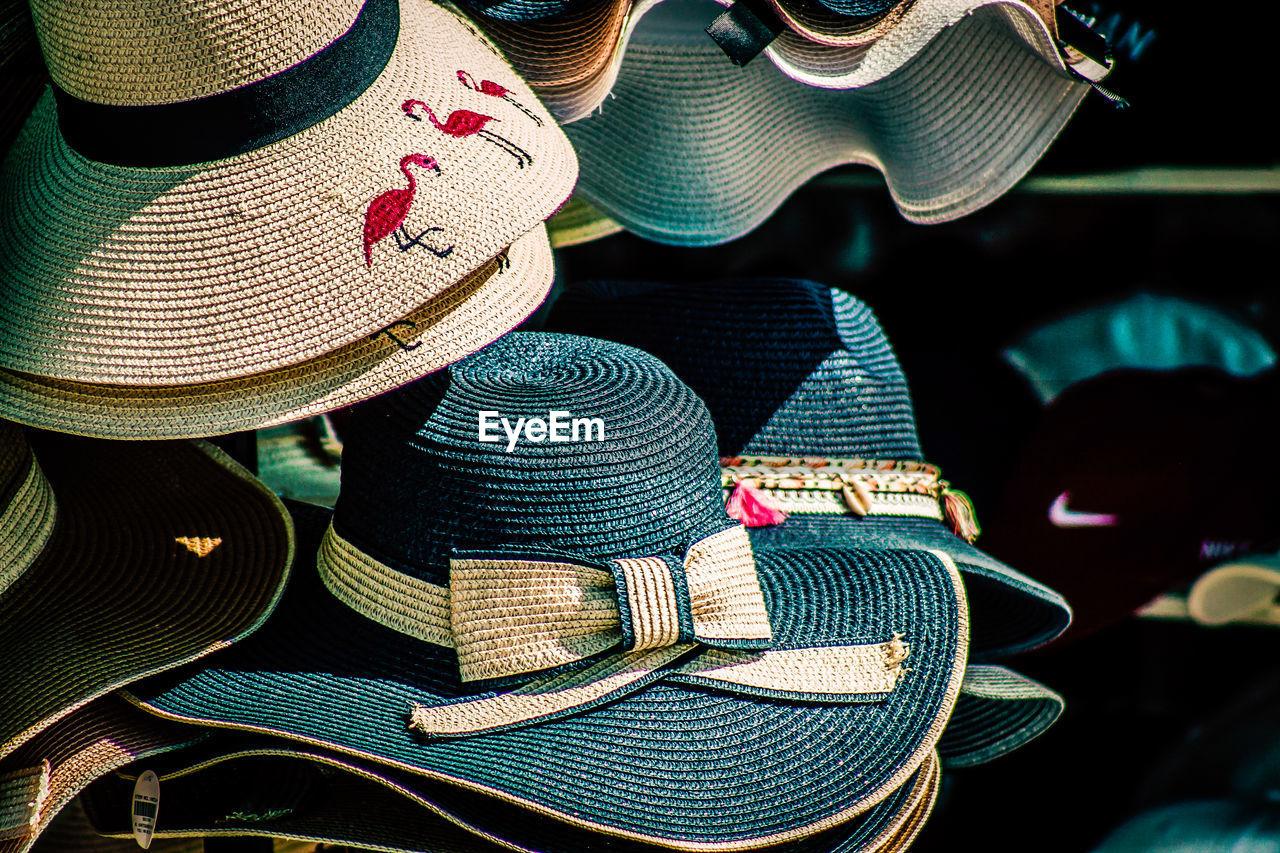 Full frame shot of hats for sale at market