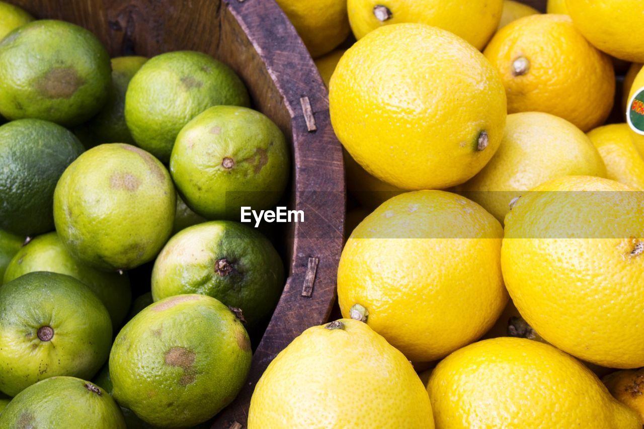 High angle view of lemons at market