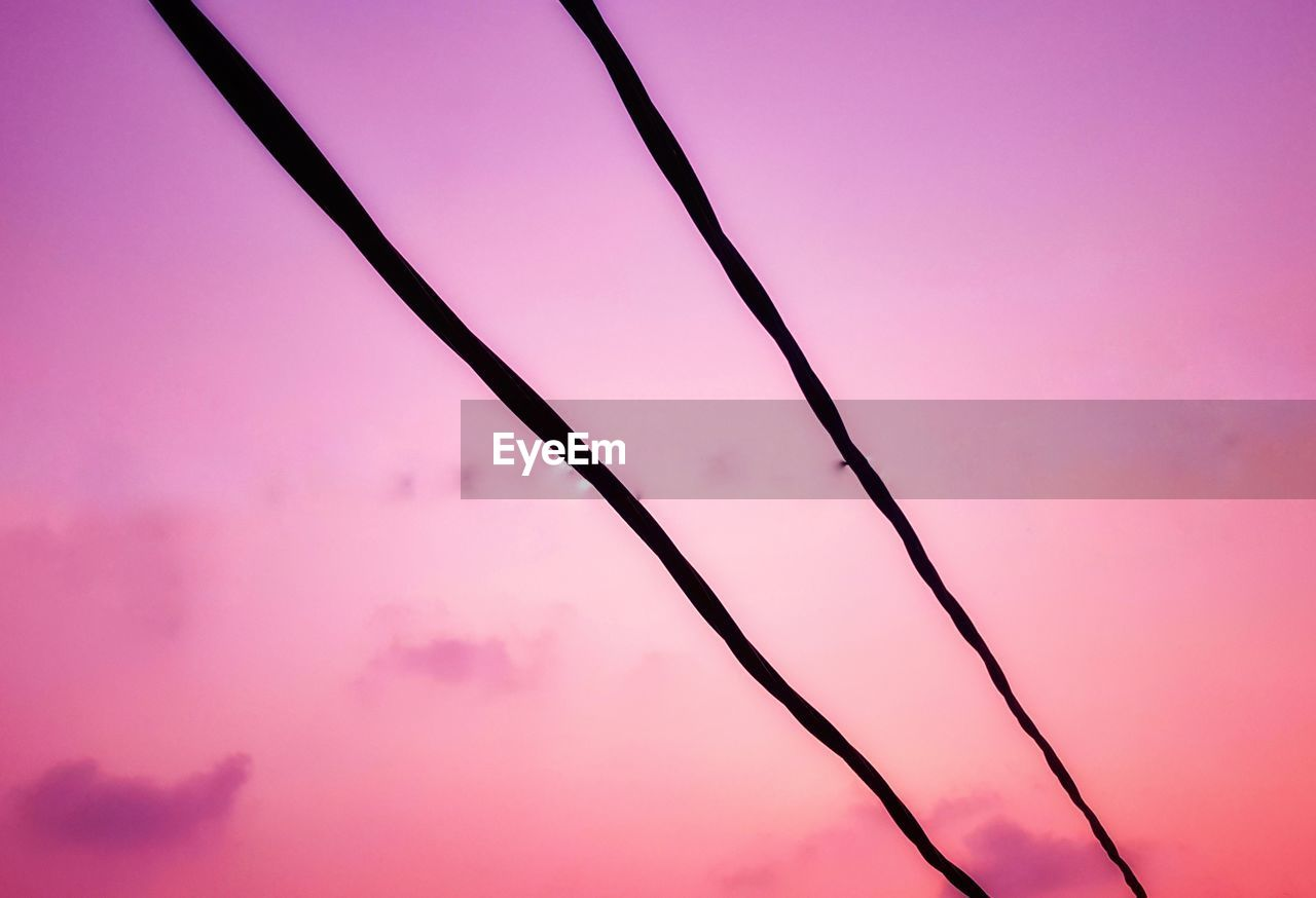no people, sunset, pink color, low angle view, beauty in nature, sky, nature, close-up, tranquility, outdoors, orange color, full frame, silhouette, colored background, cable, pink background, backgrounds, abstract, purple, day
