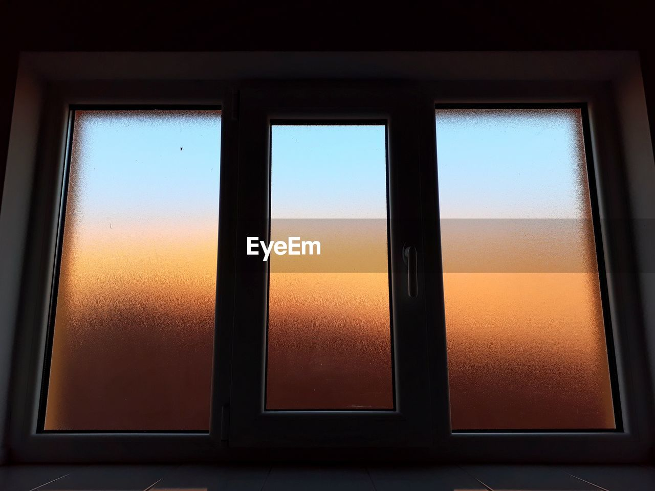 window, no people, indoors, sky, architecture, orange color, geometric shape, glass - material, built structure, sunset, wall - building feature, copy space, nature, shape, rectangle, pattern, close-up, transparent, full frame, blank