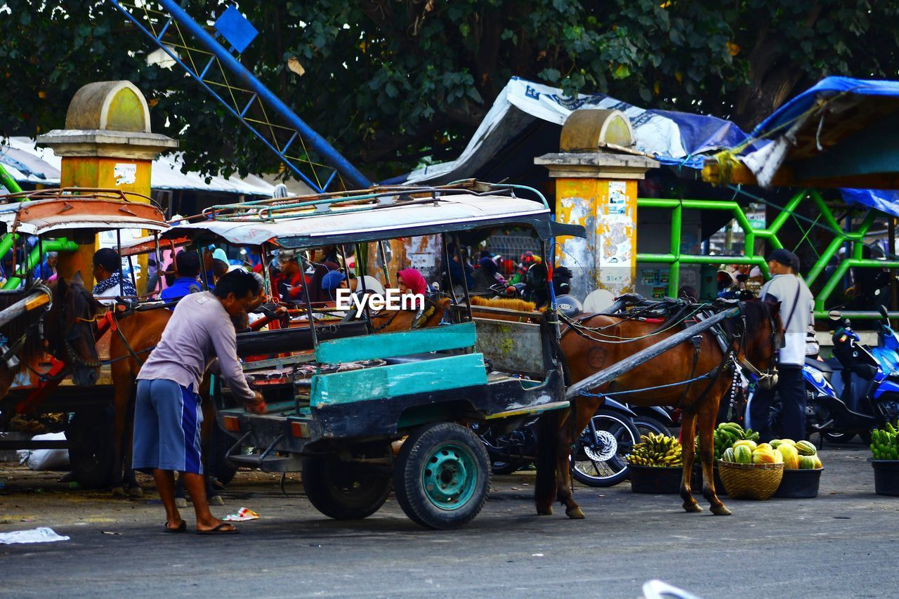 mode of transportation, transportation, city, men, real people, market, street, land vehicle, group of people, small business, cart, day, vendor, market stall, selling, retail, business, people, adult, incidental people, outdoors, busy, street market