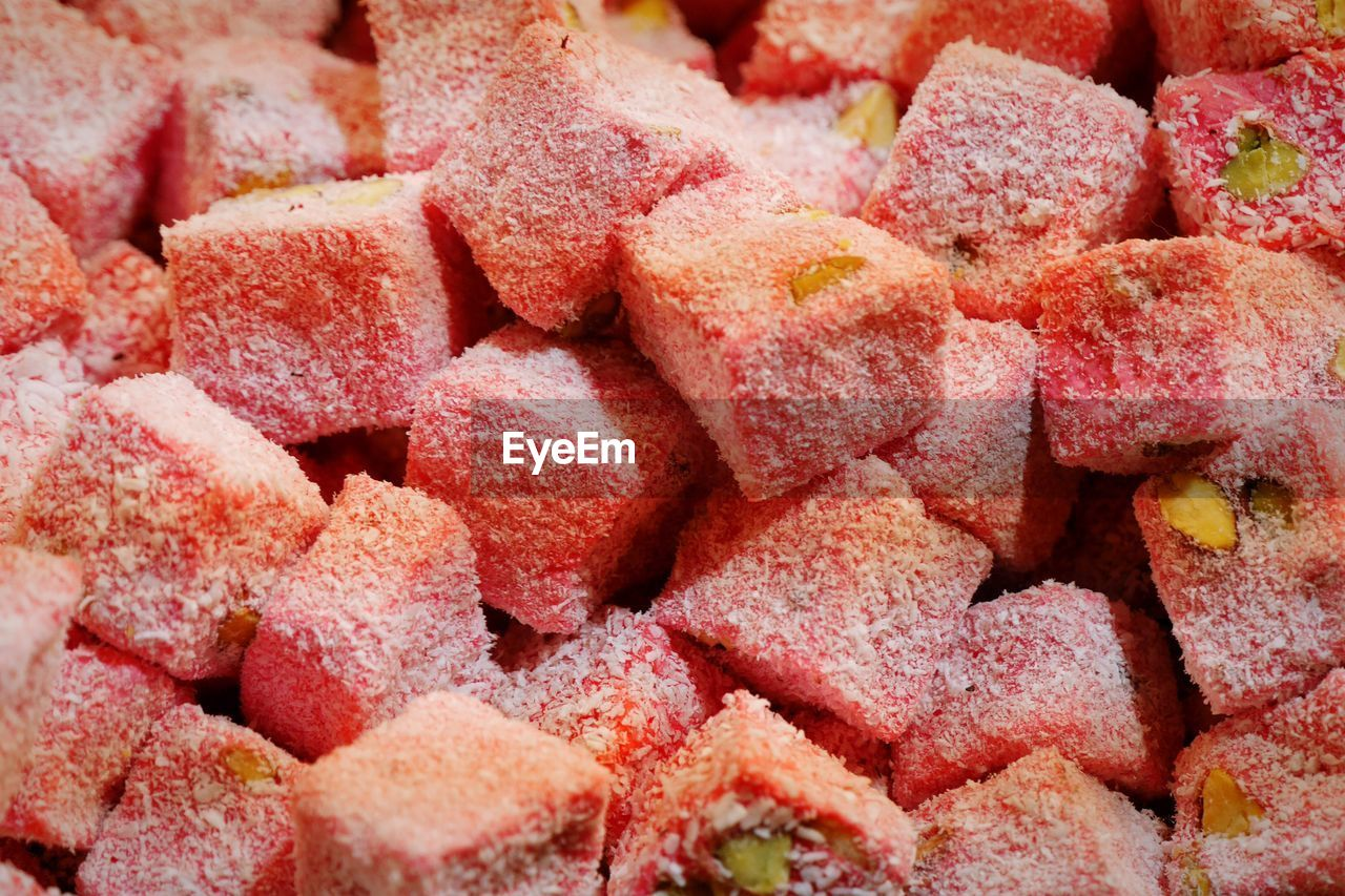 Full frame shot of sweets heap at market stall