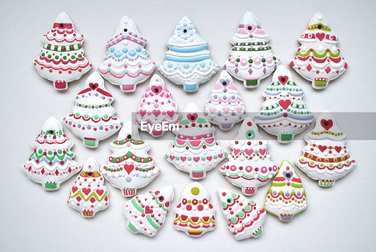 Multi Colored Various Gingerbread Cookies On White Background