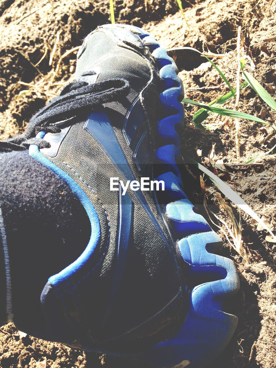 shoe, day, no people, blue, outdoors, close-up, low section, nature