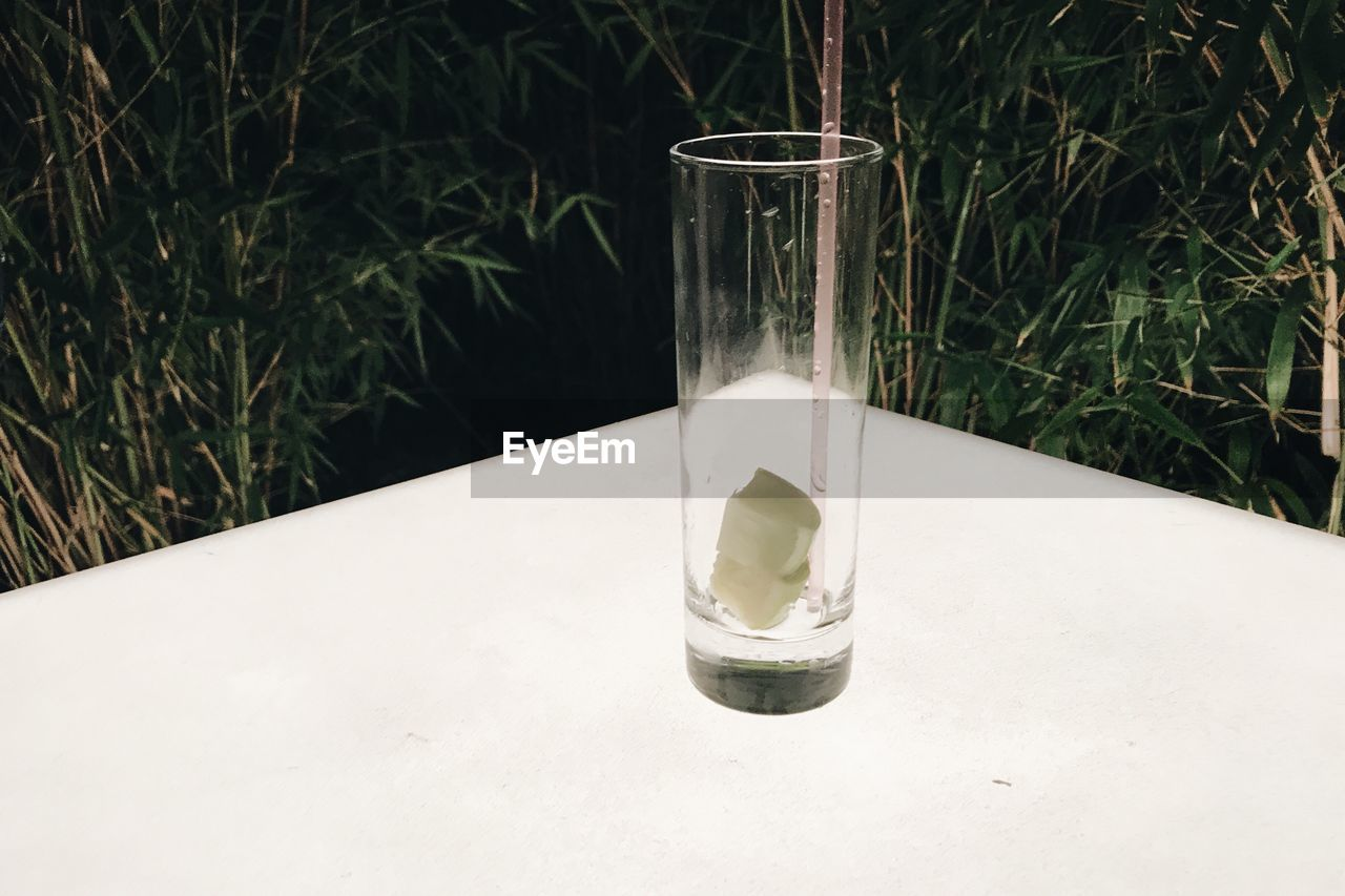 nature, glass - material, table, no people, glass, drinking glass, food and drink, transparent, drink, close-up, focus on foreground, plant, household equipment, refreshment, indoors, day, still life, water