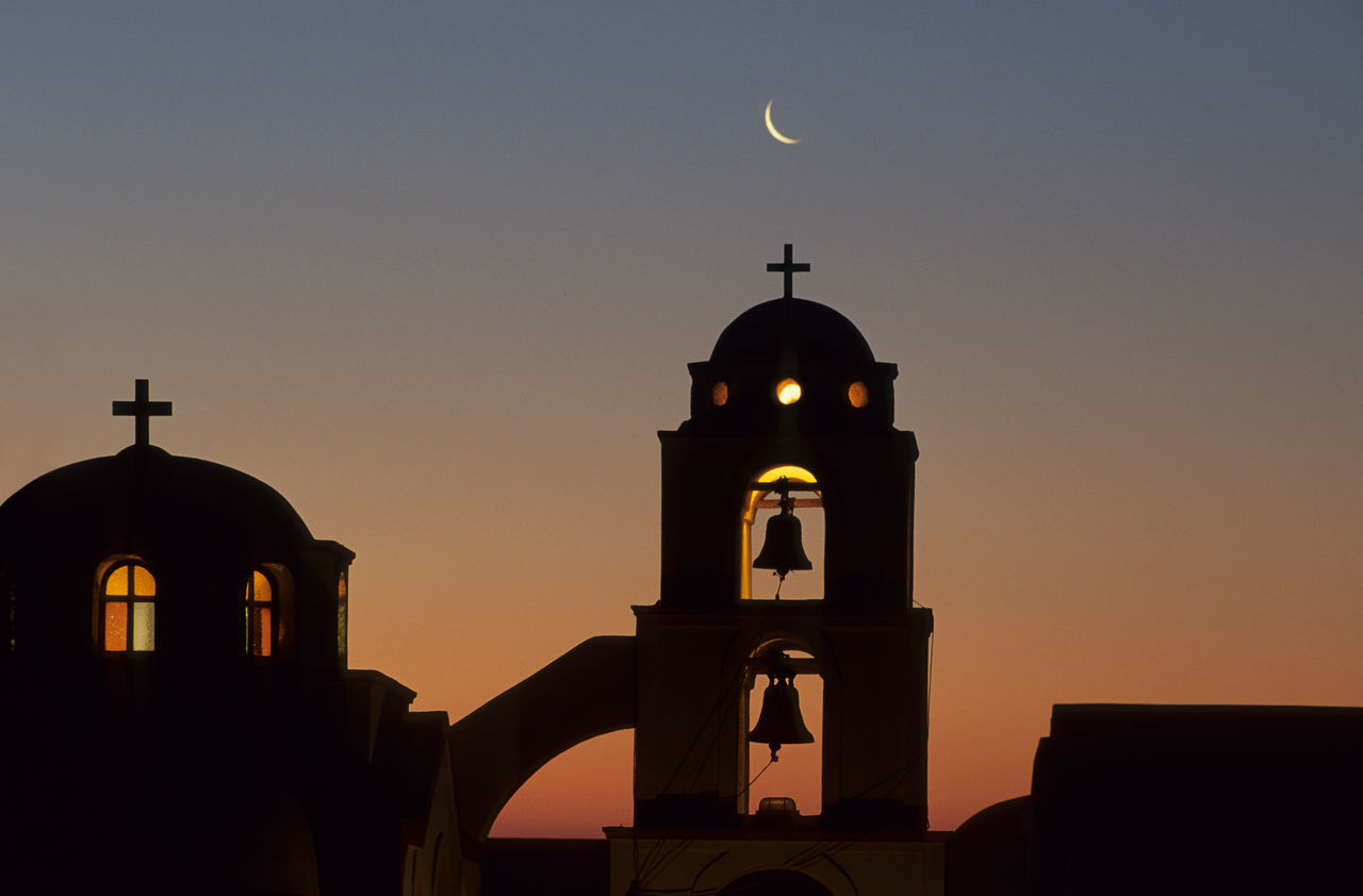 sky, architecture, sunset, built structure, place of worship, religion, belief, building exterior, arch, spirituality, silhouette, nature, building, clear sky, moon, no people, dome, dusk, outdoors