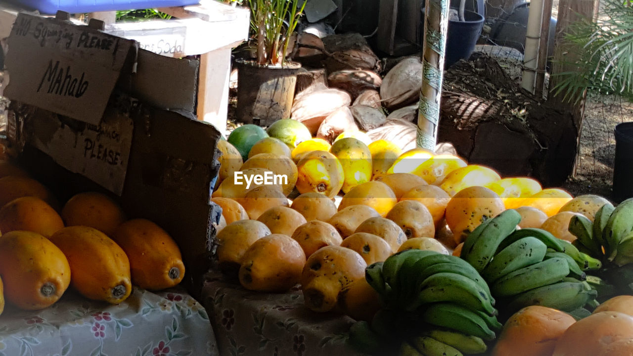 fruit, for sale, healthy eating, market, market stall, food and drink, freshness, retail, choice, food, variation, banana, price tag, no people, abundance, day, outdoors, large group of objects, close-up