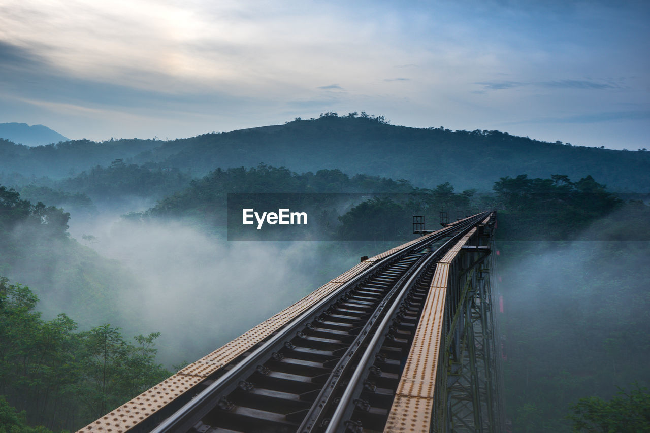 High Angle View Of Railway Bridge Against Mountains During Sunset