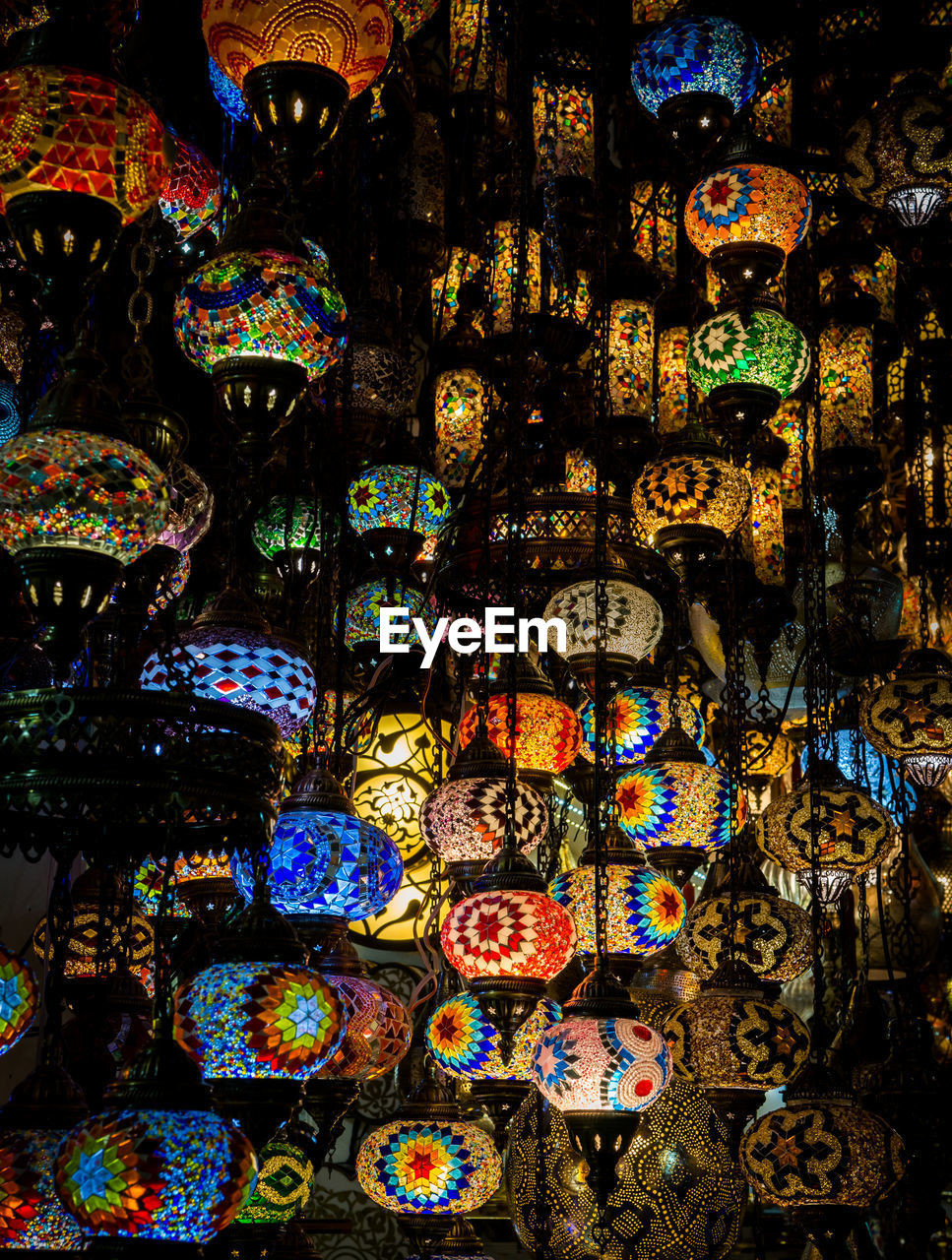 choice, variation, large group of objects, multi colored, indoors, for sale, abundance, no people, art and craft, retail, full frame, collection, backgrounds, pattern, market, hanging, arrangement, decoration, craft, lighting equipment, retail display, floral pattern, electric lamp, ornate