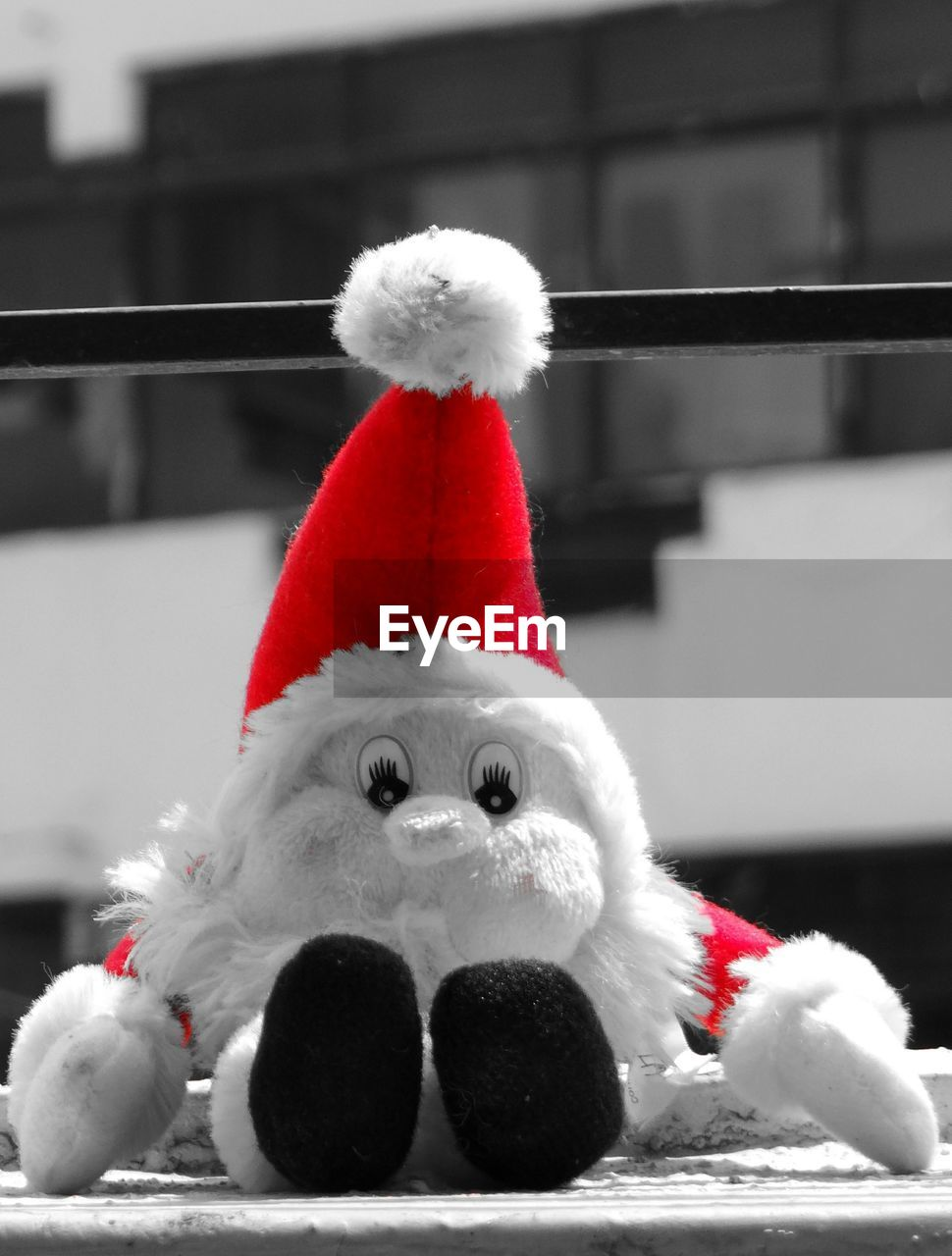 christmas, celebration, tradition, santa hat, red, stuffed toy, christmas decoration, close-up, no people, snowman, outdoors, day