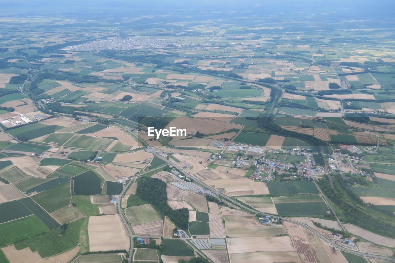 AERIAL VIEW OF AGRICULTURAL LANDSCAPE IN CITY
