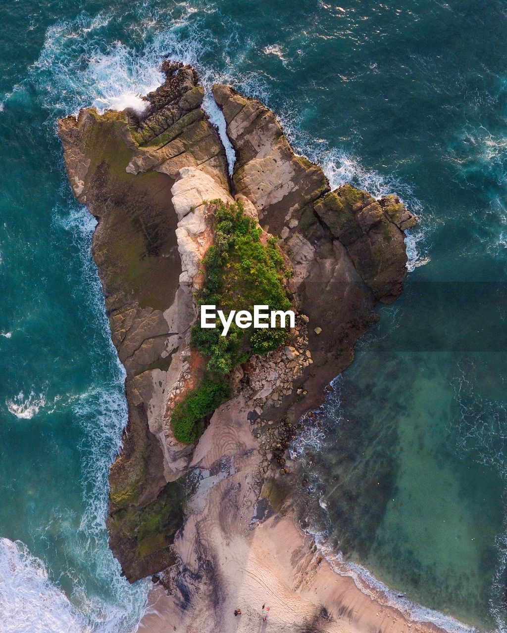 water, sea, beauty in nature, land, rock, rock - object, nature, scenics - nature, beach, high angle view, solid, rock formation, no people, tranquil scene, tranquility, day, motion, non-urban scene, aquatic sport, outdoors, eroded, power in nature, turquoise colored