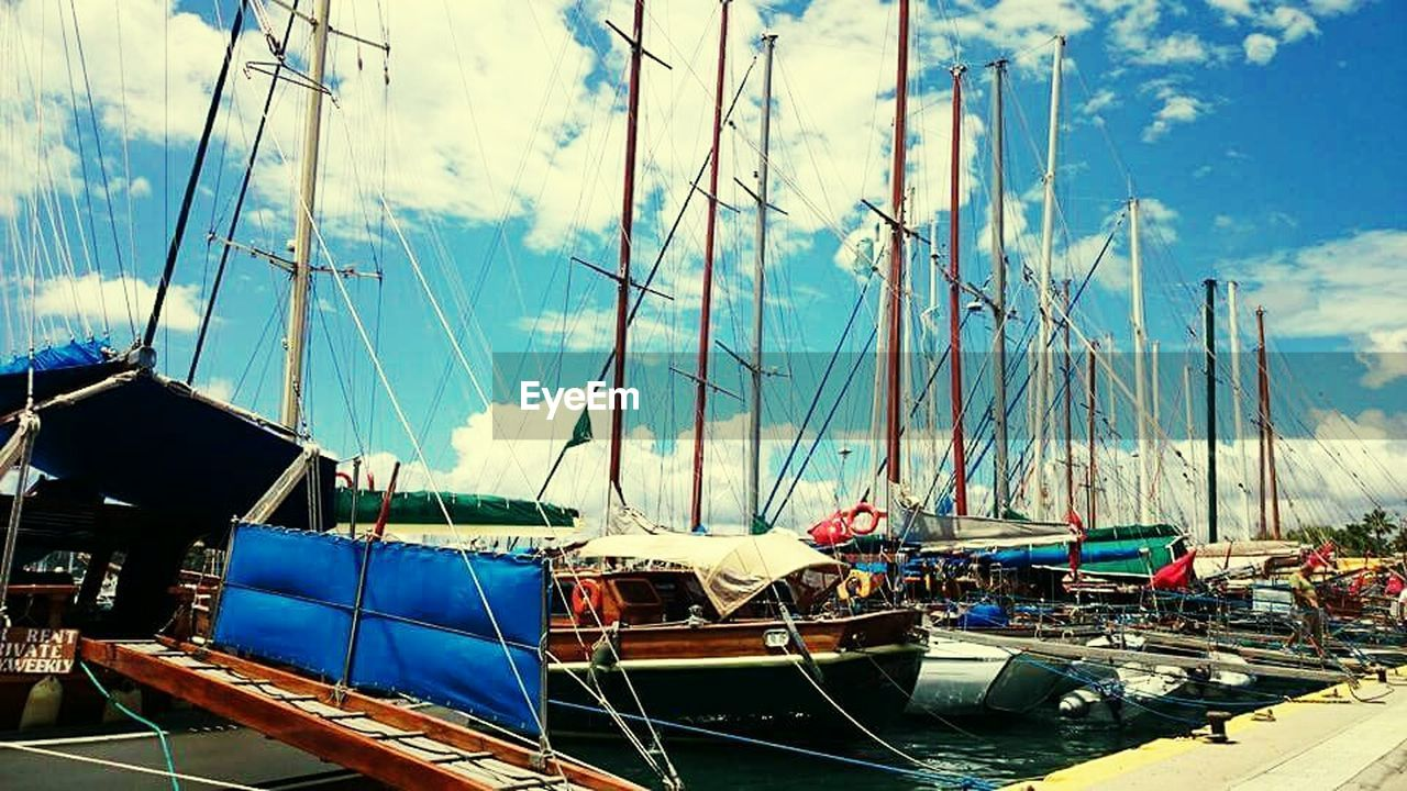 nautical vessel, transportation, mode of transport, moored, sky, cloud - sky, no people, day, outdoors, mast, harbor, nature, water