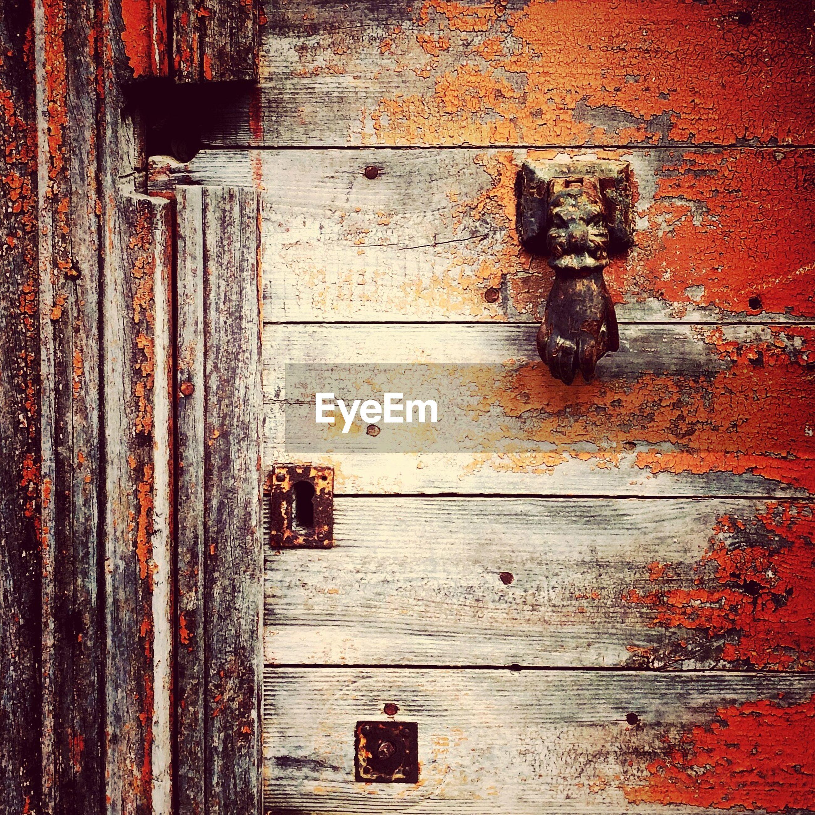 Door knob on weathered