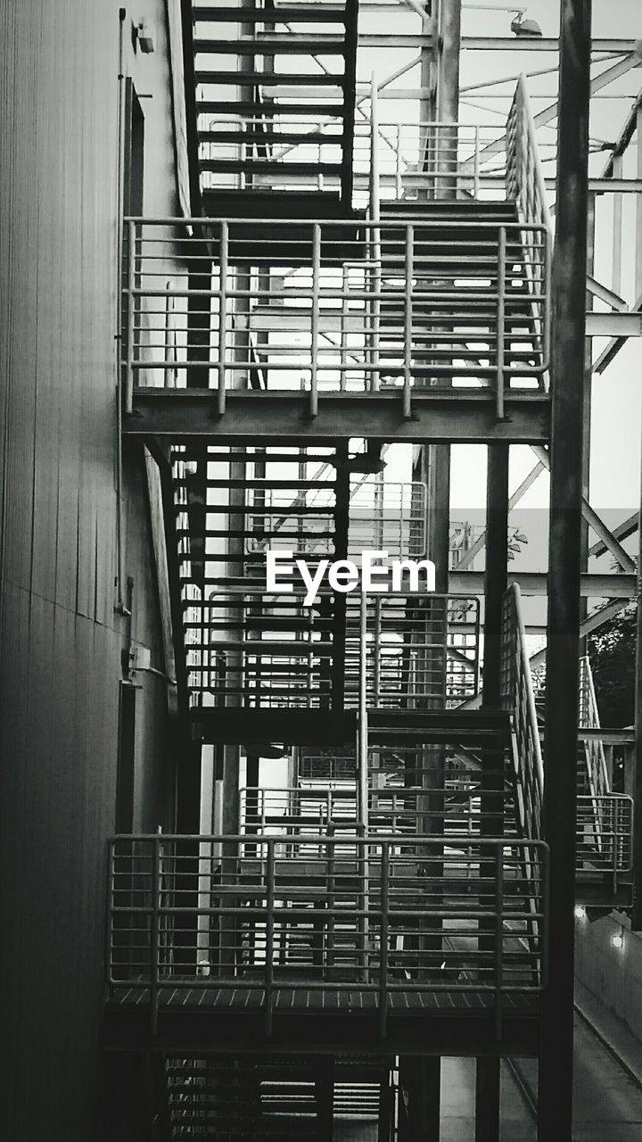 Low angle view of fire escape in building