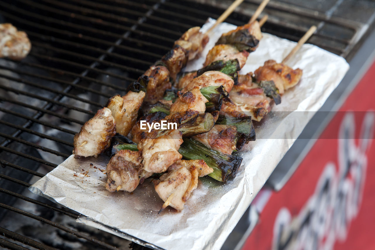 Close-Up Of Chicken Skewers On Barbecue Grill