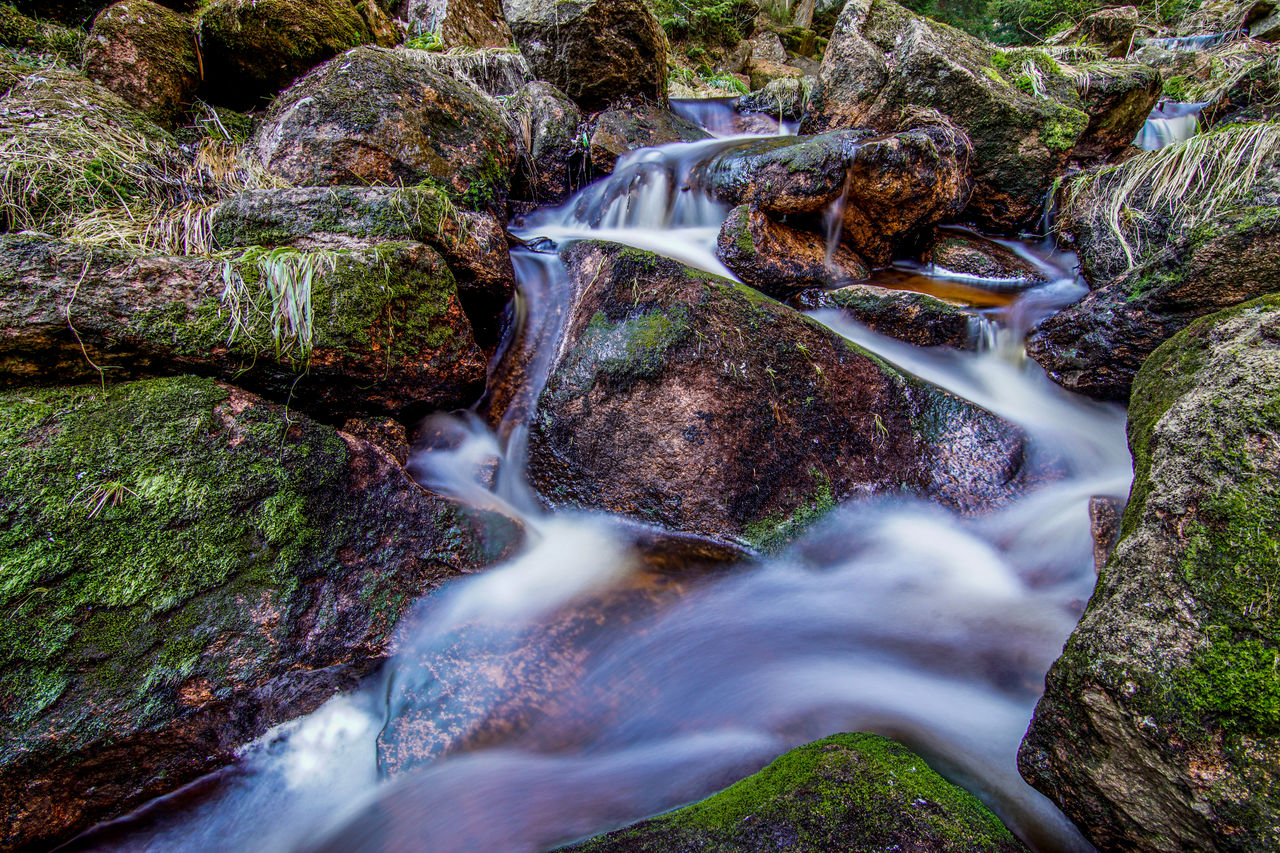 rock, blurred motion, motion, water, long exposure, rock - object, flowing water, solid, scenics - nature, waterfall, moss, beauty in nature, nature, forest, land, tree, no people, plant, flowing, stream - flowing water, outdoors, falling water, purity, power in nature