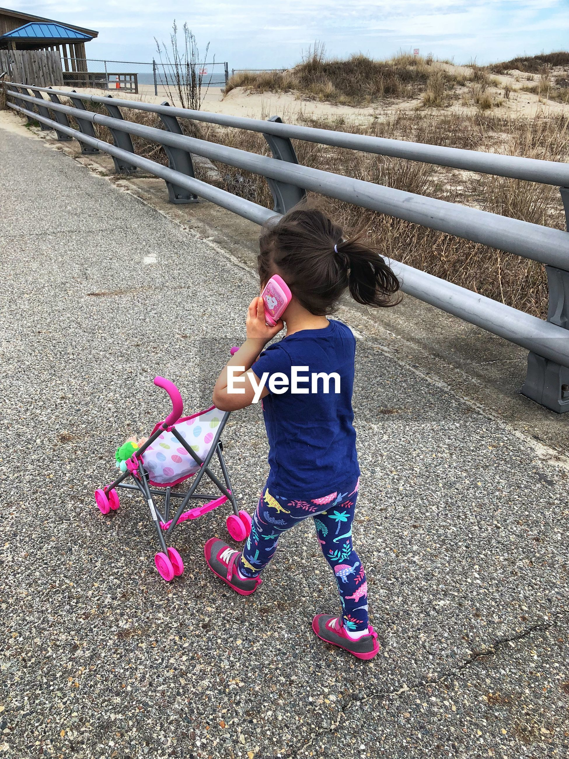 Rear view of girl pushing baby stroller on footpath