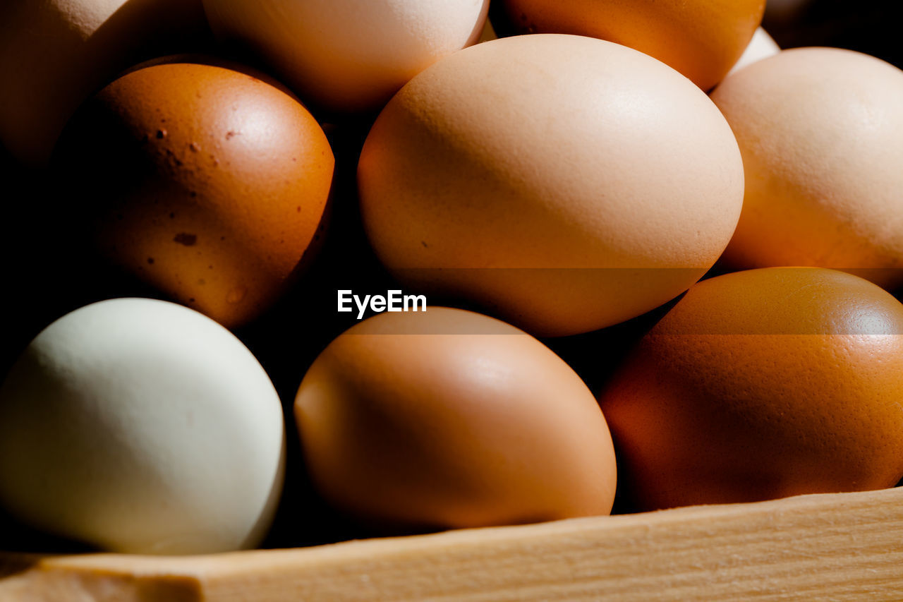food, food and drink, healthy eating, egg, wellbeing, freshness, still life, full frame, close-up, no people, raw food, brown, indoors, backgrounds, selective focus, large group of objects, group of objects, fragility, vulnerability