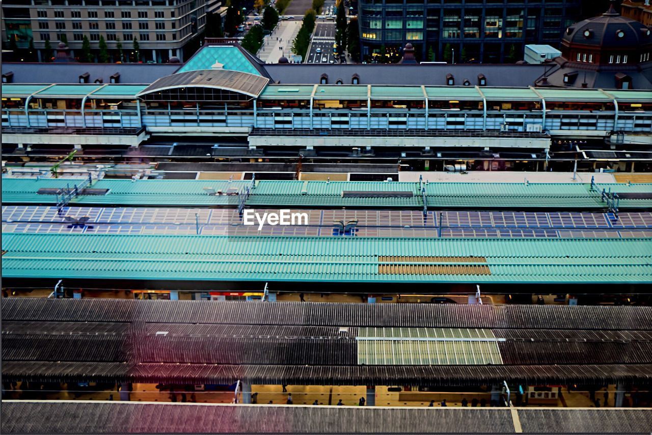 High Angle View Of Railroad Station Roofs