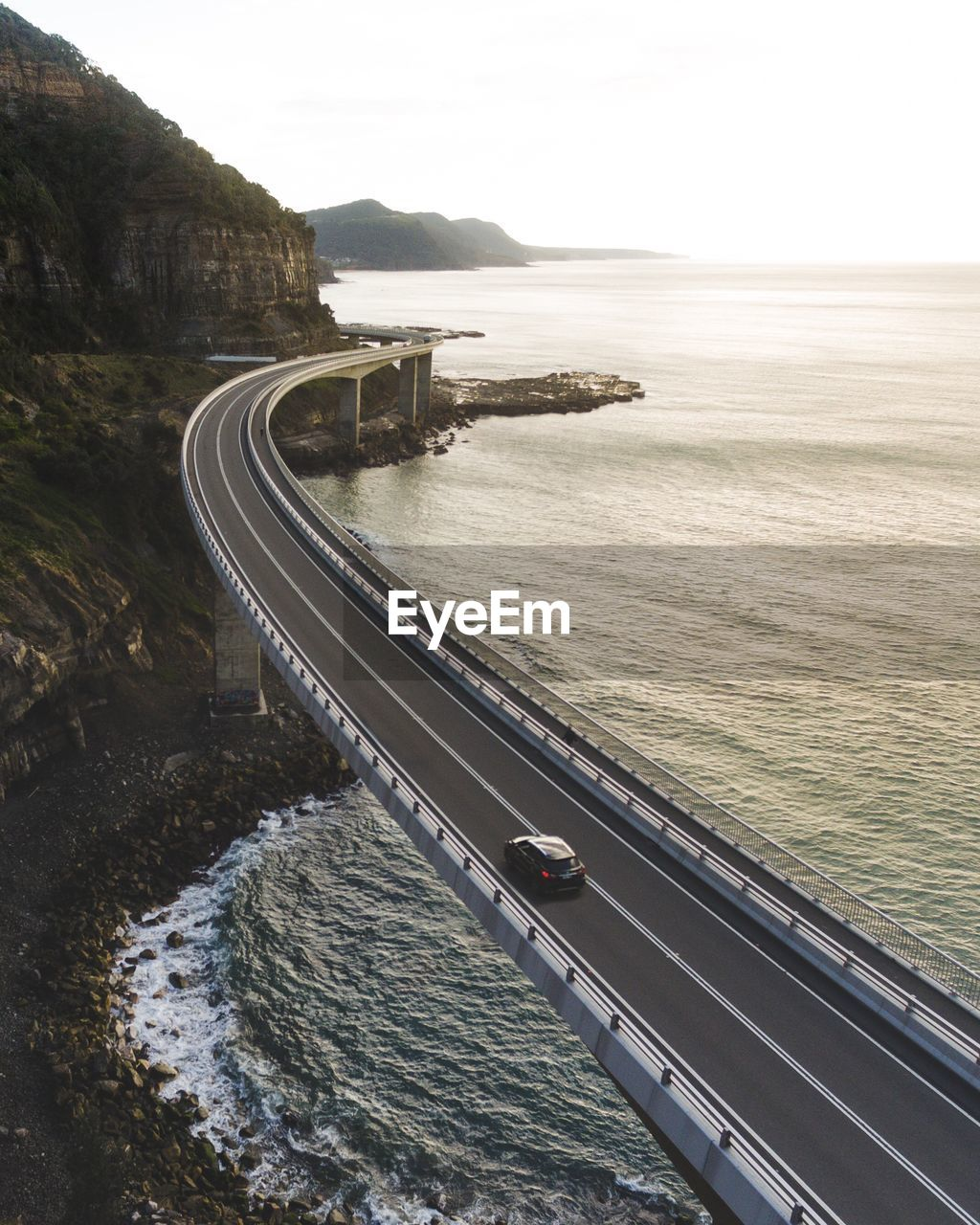 High Angle View Of Suspended Highway Along The Coastline