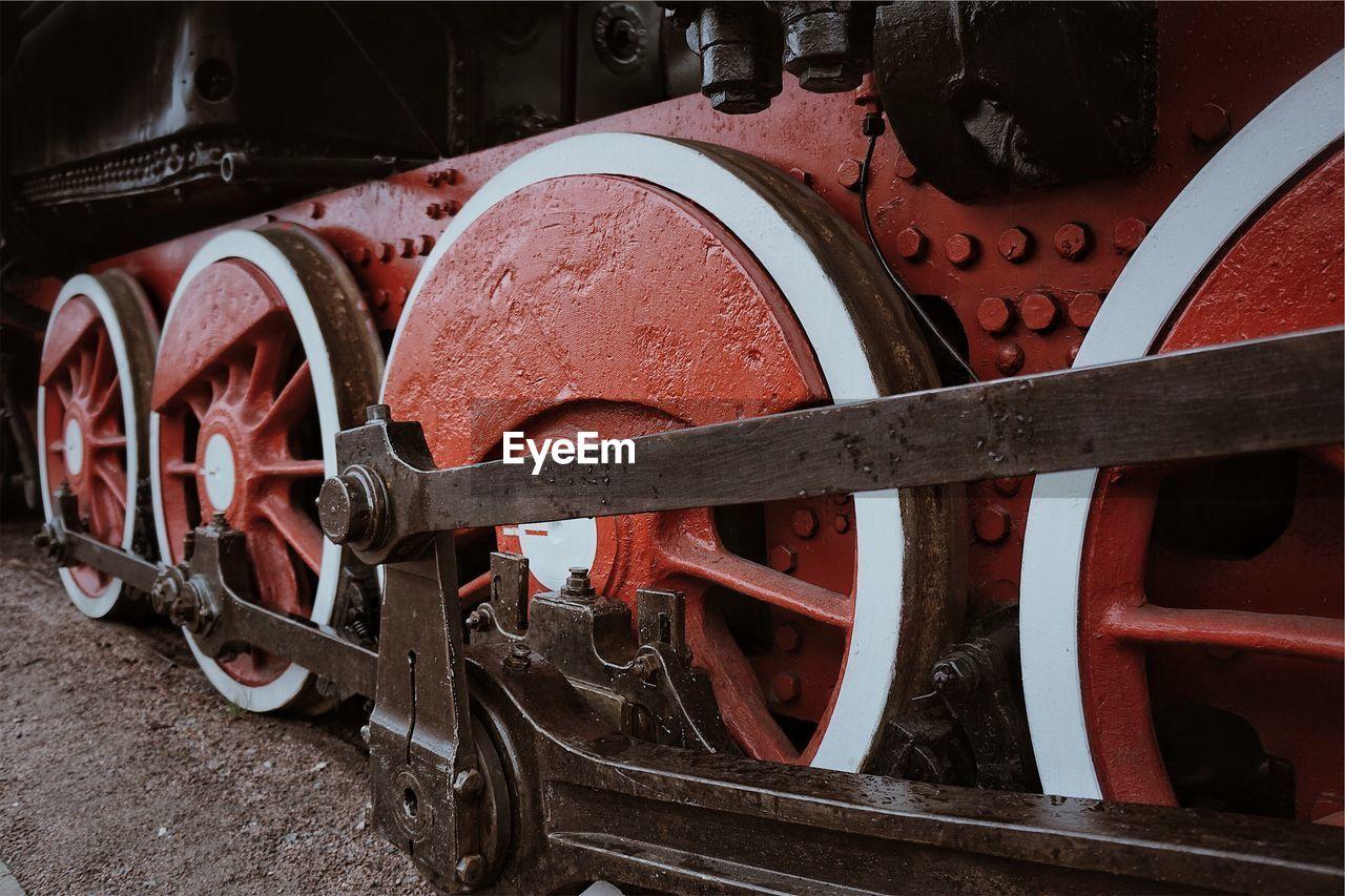 Close-up of train wheels